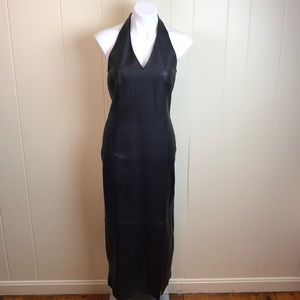 Vintage 80s/90s Leather Halter Body Con Dress